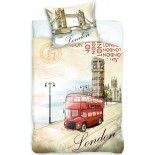 London City Bus - Parure de Lit Londres - Housse de Couette Coton
